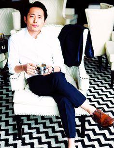 Steven Yeun! Why does it always seem like he never wears socks?
