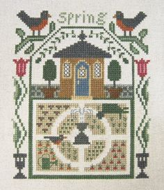 Completed Cross Stitch Picture - Prairie Schooler Sampler - Spring - Seasons.