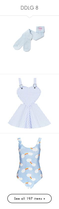 """""""DDLG 8"""" by unicorn-923 ❤ liked on Polyvore featuring intimates, hosiery, socks, clothing - socks, bubble socks, dresses, skirts, overalls, blue and swimwear"""