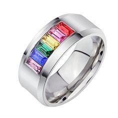 NALATI Schmuck Herren Ring Edelstahl Ring Regenbogen bunt Silber Band Ring Klassik Hochzeit Zirkonia Edelstahlring - http://schmuckhaus.online/nalati-3/nalati-schmuck-herren-ring-edelstahl-ring-bunt