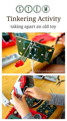 Tinkering Activity: Taking Apart an Old Toy | A popular STEM activity for preschoolers. Recycle your broken toys by taking them apart and have a poke around! | Little Worlds Big Adventures