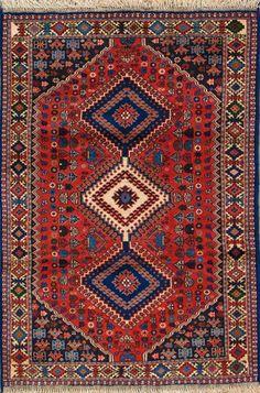 """Yalameh Persian Rug, Buy Handmade Yalameh Persian Rug 3' 5"""" x 4' 11"""", Authentic Persian Rug"""