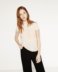 TOP WITH LACE TRIM SLEEVES-Blouses-TOPS-WOMAN | ZARA Canada