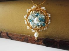 Silver Crochet Gold Crochet Lace PendantWedding by sukran on Etsy, $42.00