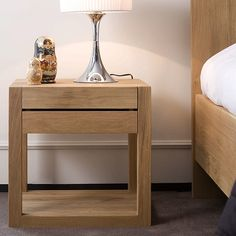 A stylish, solid oak bedside table from Ethnicraft - the Azur bedside table has a useful storage drawer and a simple, contemporary design. Solid Wood Furniture, Furniture Design, Bedroom Furniture, Furniture Making, Wooden Bedside Table, Bedside Tables, Oak Nightstand, Side Tables Bedroom, Bedroom Sets