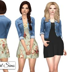 NyGirl Sims 4 : Spring dress with Denim jacket.