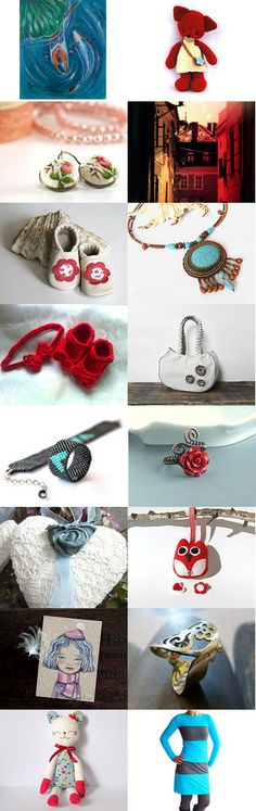 Red and blue, blue and red, Valentine and  mother's day by Daniela Varga on Etsy--Pinned with TreasuryPin.com