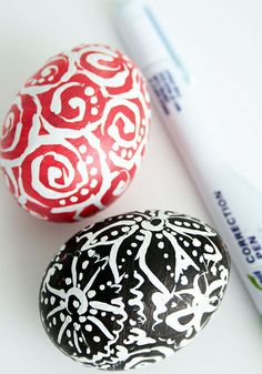 Easter:  Eggs painted a solid color, then a white-out pen used to draw designs