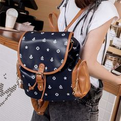 Navy Style Anchor Starfish Vessel Print Backpack