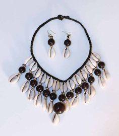 Cowrie Shell Jewelry Set - Black