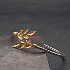 Gold Olive Leaves Bracelet Twisted Olive Twig by GreekMythos