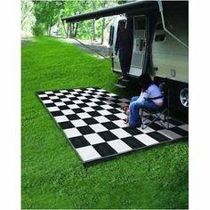 Reversible-Outdoor-Mat-RV-Trailer-Camping-Patio-Black-White-Checkered-9-x-12-Rug