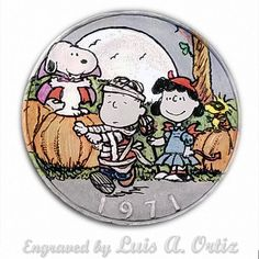 Snoopy's Halloweeen Ike Hobo Nickel Colored & Engraved by Luis A Ortiz Hobo Nickel, Peanuts, Hand Carved, Coins, Snoopy, Carving, History, Things To Sell, Art