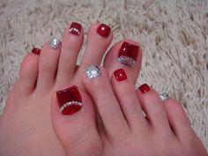 Red and glitter toe nail art Toenail Art Designs, Pedicure Designs, Nail Polish Designs, Pretty Toe Nails, Cute Toe Nails, Fancy Nails, Pedicure Nail Art, Toe Nail Art, Feet Nails