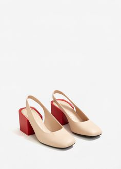 Geometric leather shoes - Woman | MANGO United Kingdom
