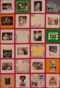 Twin quilt with pink sashing and backing. Good mix of shirts, wee squares, photo squares, and patches.