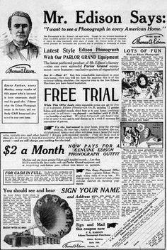 Newspaper ad for Edison phonograph.