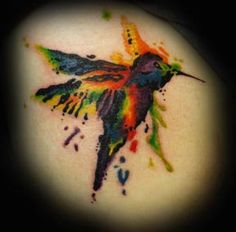 Hummingbird tattoo by Michelle Nordeen at Crimson Heart Designs, Turtle Lake, WI