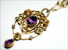Exceptional 15kt Gold Murrle Bennett & Co. Diamond, Amethyst and Demantoid Garnet 'Suffragette' Pendant with French Chain