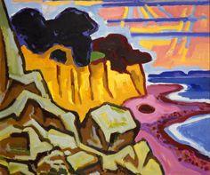 Karl Schmidt-Rottluff, Steilküste, 1961. Öl auf Leinwand. 87 x 101 cm. Brücke-Museum Berlin. Karl und Emy Schmidt-Rottluff Stiftung
