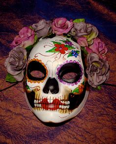 DIA De Los Muertos Costumes   Dia de los Muertos Deaths Head Skull Mask Adult by Masquefaire