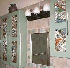 Mosaic your kitchen or bathroom door panels. What a good idea!