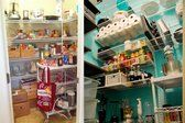 Adjustable shelves and a rolling cart for baking supplies keep this large pantry organized and the kitchen decluttered.