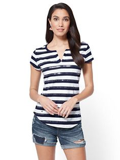 Shop Split-Neck Tee - Sequin Stripe. Find your perfect size online at the best price at New York & Company.