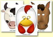 Farm Animals - role play masks