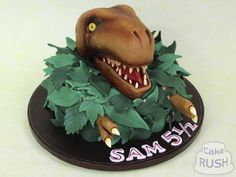 Sam wanted a scary so we made him this emerging from the jungle with gleaming eyes and sharp teeth! Dinosaur Cake, Teeth, Scary, Birthday Cake, Eyes, Desserts, Tailgate Desserts, Deserts, Birthday Cakes