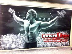 Office Graffiti mural - Powerbody Supplements hand painted Figure and crowd scene graffiti design #graffitidesign #interior design