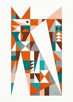 midcentury fox Art Print
