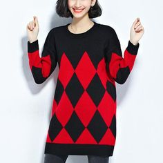Black and white color block sweater dress for women geometric knit sweaters