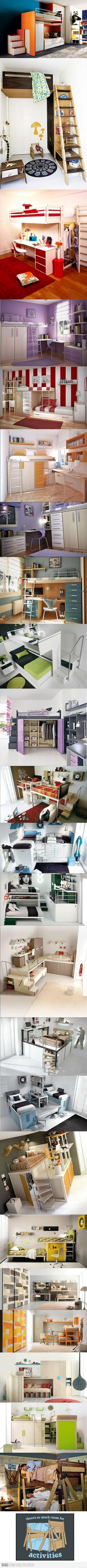Coolest bunk beds ever.  I had red ones when I was little, they were not as exciting.