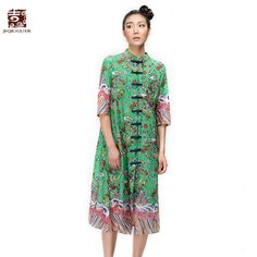 Jiqiuguer Brand Women's Cotton Linen Blouses Robe Three Quarter Sleeve Cheongsam Long Blouses Print Shirts Tops G152Y038