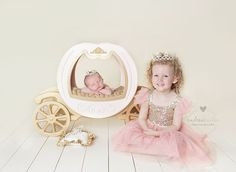 Cute pic idea of big sis and new baby. Love the Cinderella princess carriage theme! Andrea Kinter took the pic