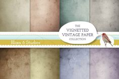 Vintage Paper Vignetted Backgrounds Graphics Gorgeous Vintage Vignetted Papers - High Resolution Digital TexturesThis set of 8 rectangular pape by Blixa 6 Studios