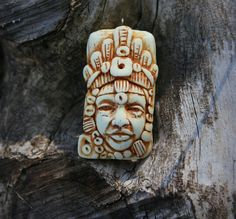 OOAK Faux Ivory Polymer Clay Face Pendant- Tribal face pendant