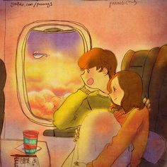 Gazing outside the window from the plane. I see sea of cloud tinged with red. Look over there! There is a flying whale! Will stars show up when the sun sets? See a full illustration : grafolio.com/works/170805