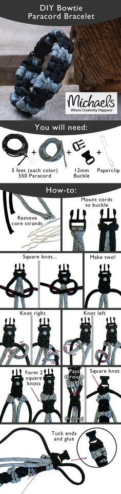 Tie a few knots to create this trendy DIY Paracord Bracelet Más Paracord Projects, Paracord Ideas, Paracord Tutorial, Parachute Cord, Paracord Bracelets, Jewelry Crafts, Friendship Bracelets, Jewelry Making, Leather