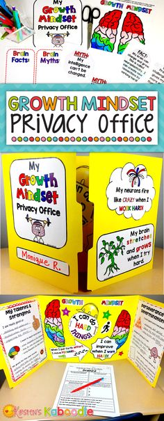 Are you teaching your students about growth mindset? This privacy office folder kit is a perfect way for your students to keep growth mindset concepts fresh. What better way to encourage their strengths than by providing messages for them in the space whe Classroom Organization, Classroom Management, Classroom Ideas, Behavior Management, Classroom Activities, Classroom Procedures, Group Activities, Social Emotional Learning, Social Skills