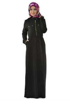 2280b5944ebce Fermuarlı belden büzgülü boydan elbise 👆