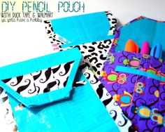 DIY Pencil Pouch with Duck Tape® and Walmart - Ya Gotta Have a Hobby: Make your own personalized pencil pouch using There are tons of colors and patterns to choose from! Crafts To Make And Sell, Diy Arts And Crafts, Fun Crafts, Crafts For Kids, Duck Tape Crafts, Girl Scout Crafts, Thinking Day, Diy Network, Pencil Pouch