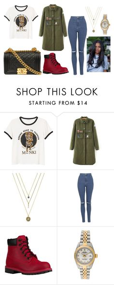 """Untitled #358"" by marea2008 ❤ liked on Polyvore featuring Monki, BCBGeneration, Topshop, Timberland and Rolex"