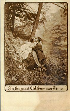 "vintage romance postcard - ""In the good old summer time"""