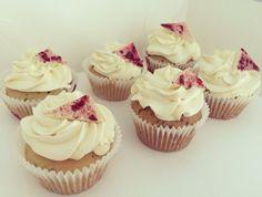 Rose tea, raspberry and white chocolate cupcakes