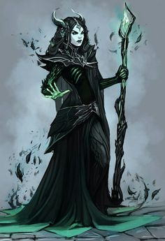 Black, green, woman, necromancer, sorceress.