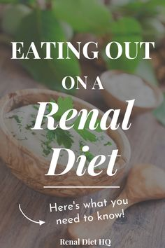 Restaurants and Chronic Kidney Disease Healthy Kidney Diet, Healthy Kidneys, Kidney Health, Healthy Eats, Healthy Foods, Healthy Life, Davita Recipes, Kidney Recipes, Diet Recipes