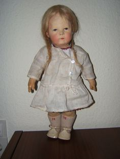 Käthe Kruse Puppe IH -Stoffkopf, Mohairperücke handgeknüpft, 1929,breite Hüften   eBay