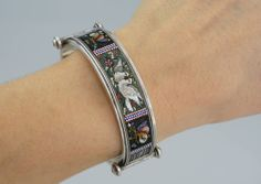 Antique Victorian Silver Micro Mosaic Dove Butterfly Hinged Cuff Bangle Roma 32g